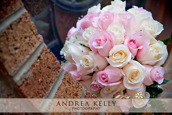 Kristin opted for a bouquet featuring pink and cream roses each containing a