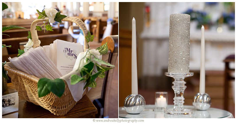 Wedding programs in a decorated basket and silver unity candle